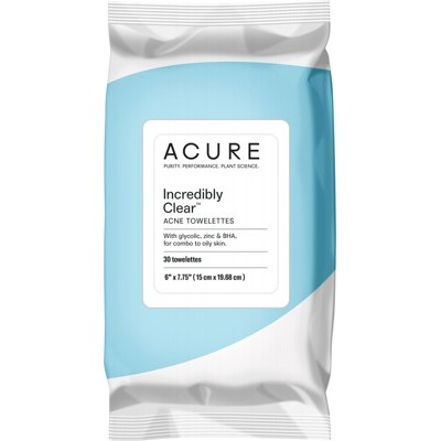 ACURE Incredibly Clear Acne Towelettes x30